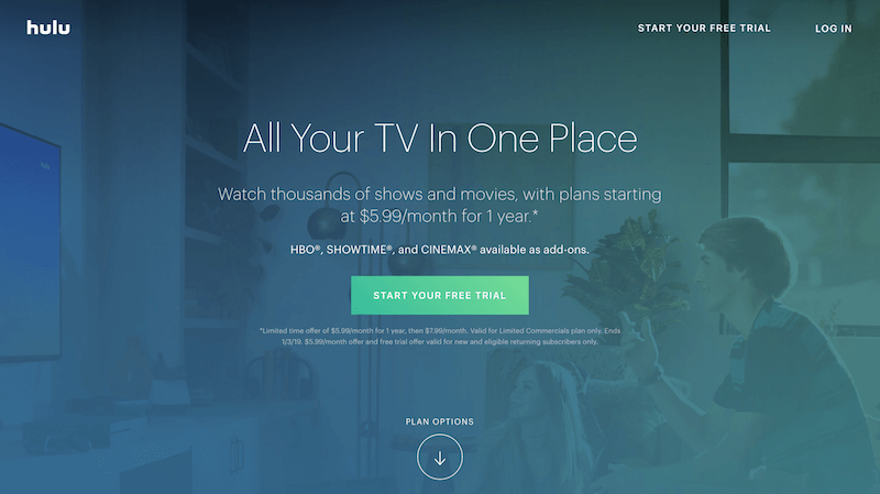 Leading example of Hulu sales funnel sales page